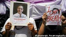 Protest für den entführten thailändischen Aktivisten Wanchalarm Satsaksit in Bangkok