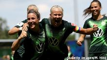 WOLFSBURG, GERMANY - JUNE 17: Pernille Harder (R) of Wolfsburg celebrate with Svenja Huth after she scores her team's 2nd goal during the Flyeralarm Frauen Bundesliga match between VfL Wolfsburg Women's and SC Freiburg Women's at AOK-Stadion on June 17, 2020 in Wolfsburg, Germany. (Photo by Maja Hitij/Getty Images)