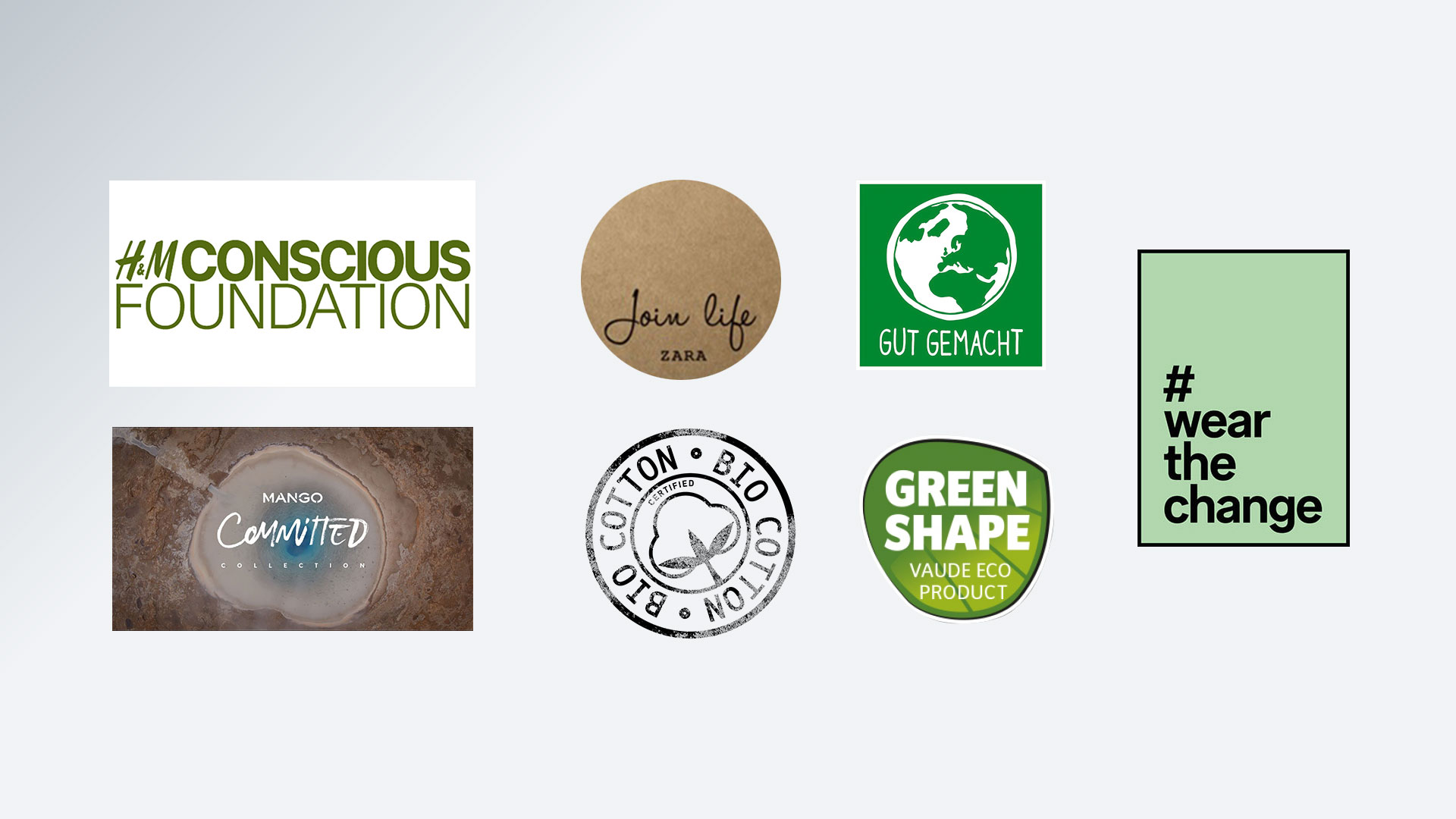 Different fashion brands' own 'sustainable' range logos