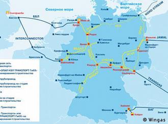 Карта газотранспортной системы