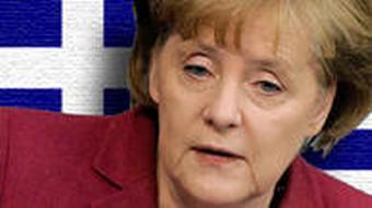 Symbolbild Montage Angela Merkel Flagge Griechenland EU-Hilfen FInanzkrise