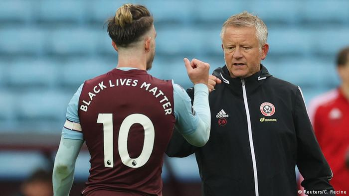 All the players from teams Aston Villa and Sheffield United had the words Black Lives Matter, replacing their names on the back of their shirts