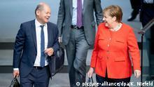 Deutschland Bundestag | Bundeskanzlerin Angela Merkel (CDU) und Olaf Scholz (SPD)