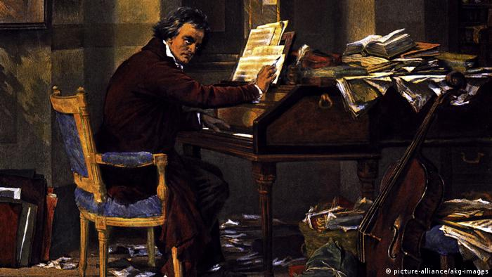 Pintura retrata Ludwig van Beethoven no piano
