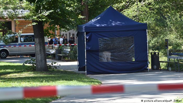 На месте убийства Зелимхана Хангошвили в центре Берлина, в парке Малый Тиргартен, август 2019 года