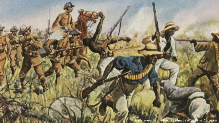 An illustration from 1904 entitled Captain Franke fighting the Hereros