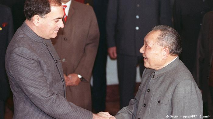 China Peking | Rajiv Gandi und Deng Xiaoping (Getty Images/AFP/J. Giannini)