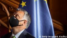LEDNICE, CZECH REPUBLIC - JUNE 11: Hungarian Prime Minister Viktor Orban wearing facemask pose for photographers during for the Visegrad Group (V4) summit at Lednice Chateau on June 11, 2020 in Lednice, Czech Republic. The Visegrad Group (V4), which includes the Czech Republic, Hungary, Poland and Slovakia, met for the first time since the coronavirus outbreak caused many countries across Europe to close their borders and restrict international travel. (Photo by Gabriel Kuchta/Getty Images)
