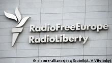 Signboard on the headquarters building of Radio Free Europe / Radio Liberty international organization in Prague.