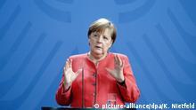 19.06.2020, Berlin: Bundeskanzlerin Angela Merkel (CDU) gibt im Kanzleramt eine Pressekonferenz im Anschluss an die Videokonferenz mit dem Europäischen Rat. Merkel und ihre EU-Kollegen berieten erstmals über das geplante Konjunkturprogramm zum Wiederaufbau nach der Corona-Krise. Foto: Kay Nietfeld/dpa +++ dpa-Bildfunk +++ | Verwendung weltweit
