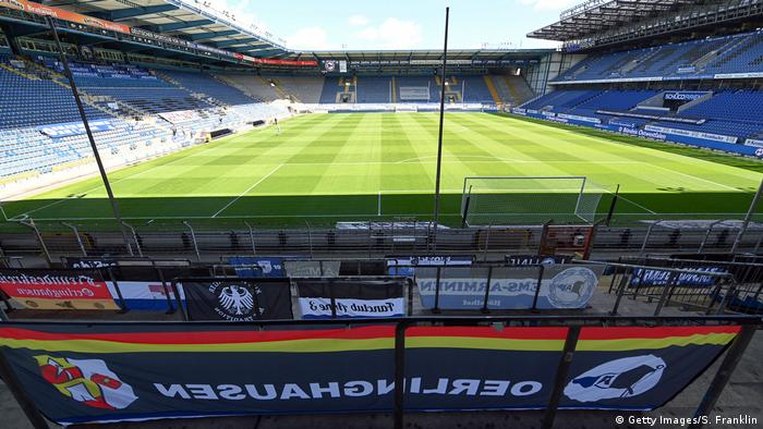 Banners to support Bielefeld are seen in the stand prior to the Second Bundesliga match between DSC Arminia Bielefeld and VfL Osnabrück