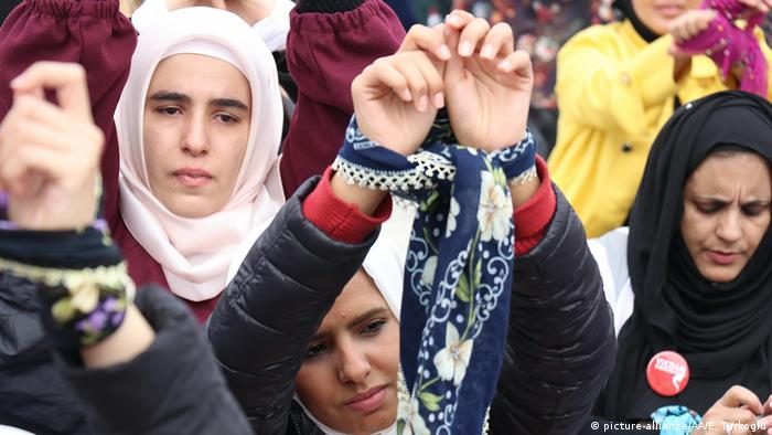 Women in Hatay, Turkey, take part in a protest to draw attention to women languishing in Syrian prisons in 2018