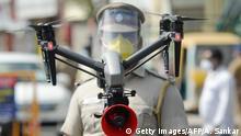 Coronavirus   Indien Chennai erneuter Lockdown   Polizei-Drohne zur Überwachung