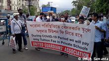 Guardians are protesting against fee hike of private schools during lockdown in West Bengal, India Copyright: Payel Samanta