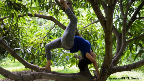 A woman performs a back bend in the branches of a tree