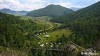 This photo provided by the journal Nature shows a view from the Altai Mountains