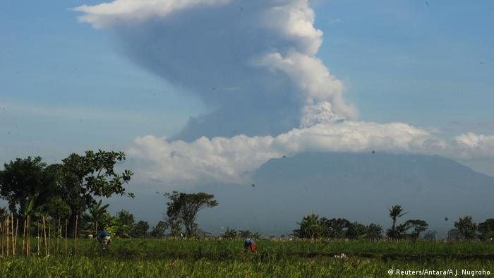 Mount Merapi erupts