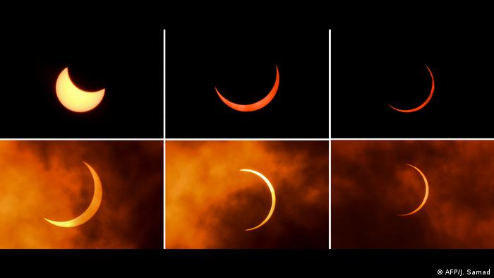 This collage shows the eclipse seen from New Delhi, India (AFP/J. Samad)