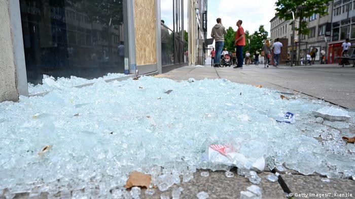 Broken glass on Stuttgart high street
