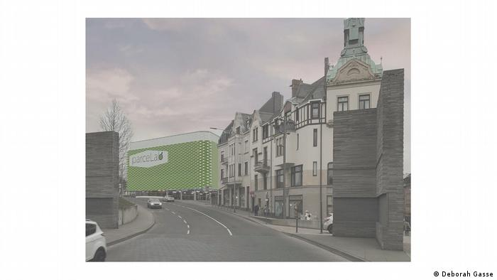 A design for a parceLab shows a green colored building on a city street between other buildings (Deborah Gasse)