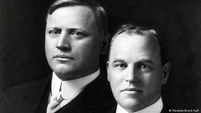 A studio portrait of automotive pioneers John F. Dodge and Horace E. Dodge together around 1914 - Meadow Brook Hall
