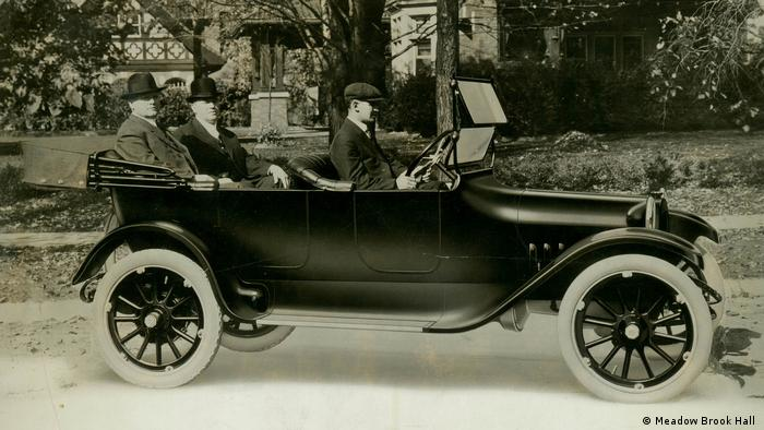 John and Horace Dodge present their car to the press on November 14, 1914, in front of John's home in Detroit. The four-door touring car cost $785 - Meadow Brook Hall