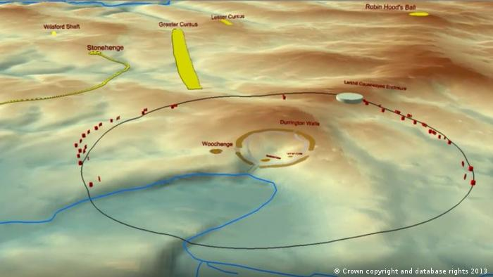 Animation illustrating the landscape setting of the Durrington pit group, major monuments and the average distance from Durrington Walls to identified features as a line. (Crown copyright and database rights 2013 )