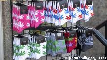 Amsterdam, Niederland, Innenstadt, Socken mit Canabis Logo, | Verwendung weltweit