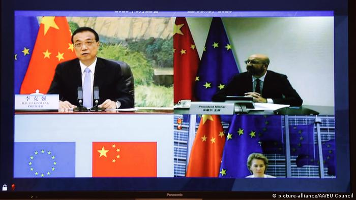 Brüssel Videokonferenz EU China Gipfel Charles Michel und Li Keqiang (picture-alliance/AA/EU Council)