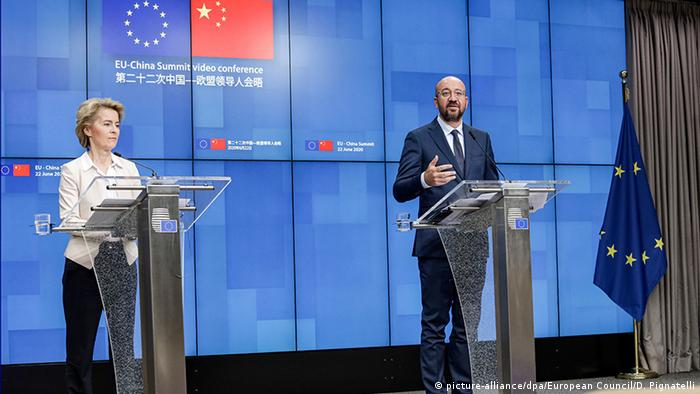 European Commission president Ursula von der Leyen and European Council president Charles Michel give an online press conference after the EU-China summit in June 2020.