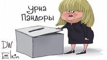 Karikatur von Sergey Elkin. Die Abstimmung für Verfassungsänderung in Russland beginnt bald. Sie wird fast eine Woche dauern und teilweise auch online, was viel Luft für Fälschungen lässt, die kaum kontrolliert werden können. Jahr/Ort: Moskau, 23.06.2020