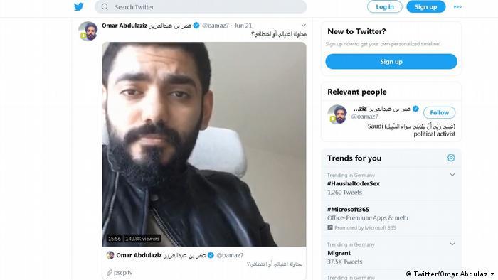 Screenshot Twitter - Omar Abdulaziz