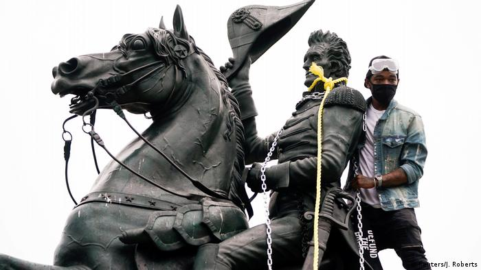 USA Black Lives Matter Proteste Andrew Jackson Staute in Washintgon D.C.