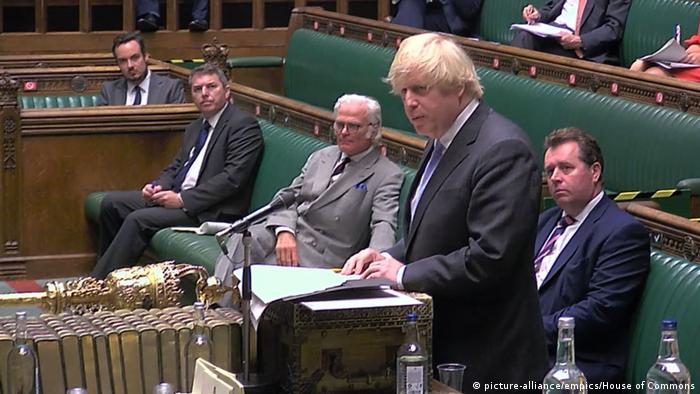 Boris Johnson giving a statement in the House of Commons
