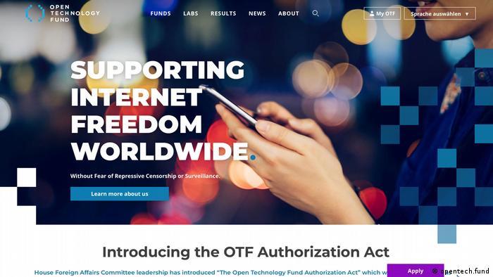 Screenshot Webseite The Open Technology Fund