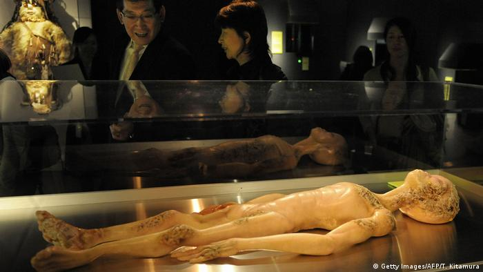 The 2008 'science of aliens' museum exhibit in Tokyo features a model depicting an 'alien autopsy'