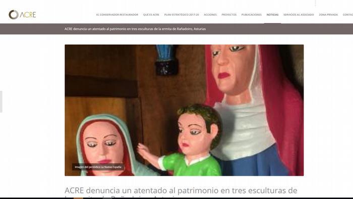 Captura de pantalla: ACRE denuncia un atentado al patrimonio en tres esculturas de la ermita de Rañadoiro, Asturias.