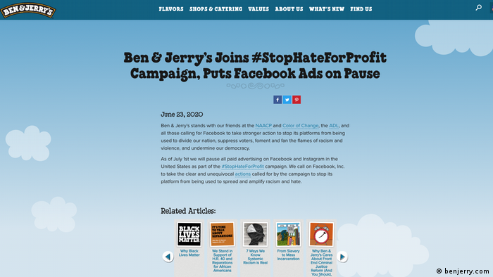 Ben & Jerry's putting Facebook ads on pause