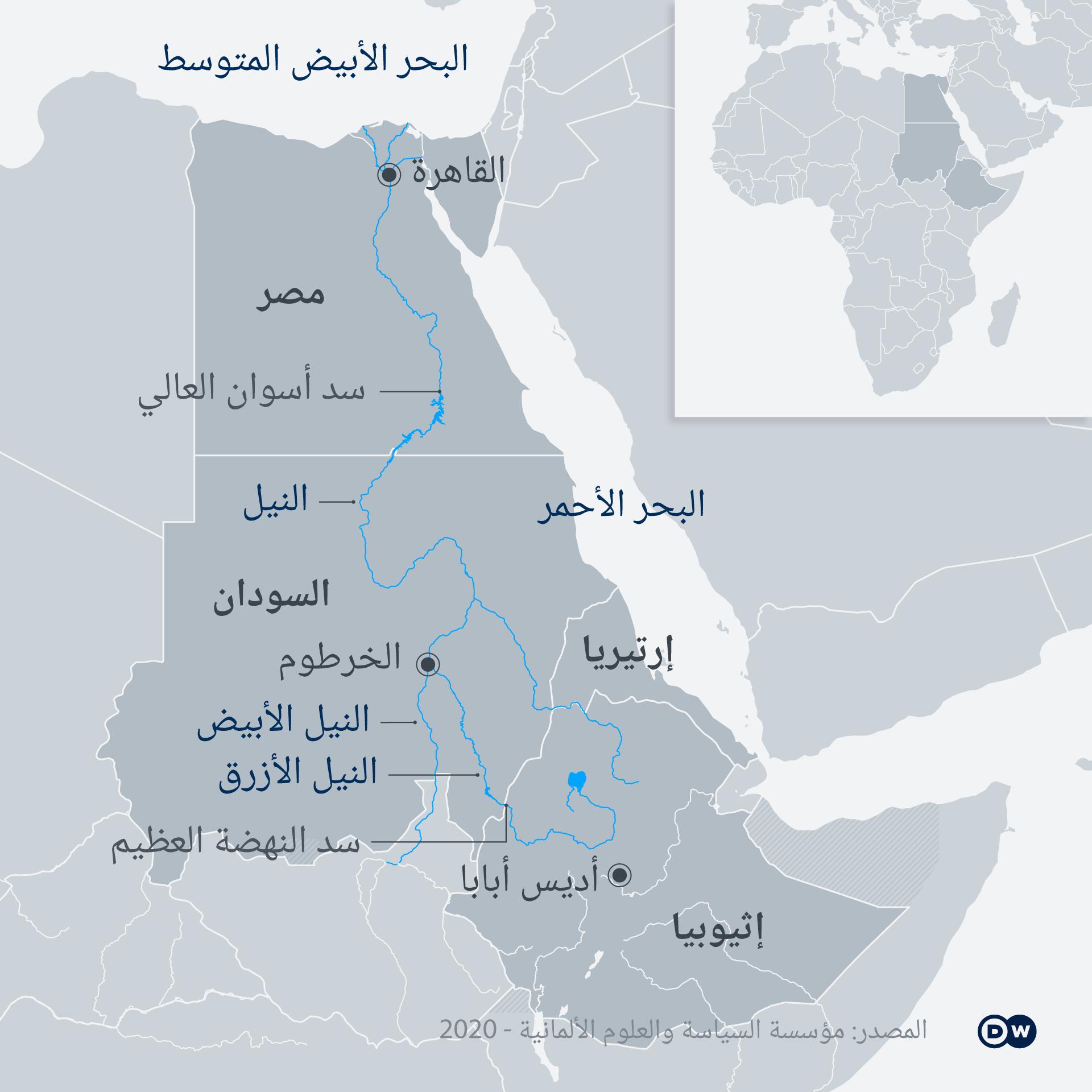 Karte Infografik wasserkrieg Ägypten Äthiopien AR