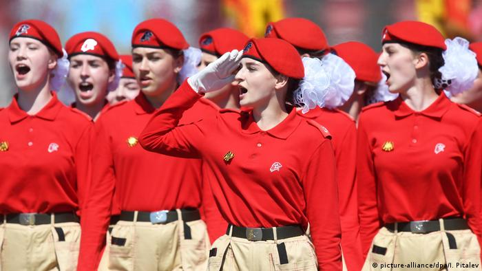 Young Army Cadets march along Red Square
