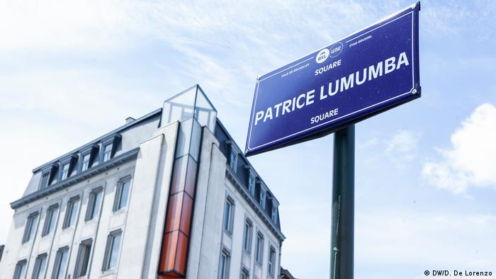 A street sign and square dedicated to Patrice Lumumba, the first prime minister of the independent DRC