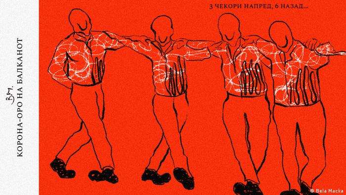 Balkan Booster Karikatur Corona-Tanz auf dem Balkan