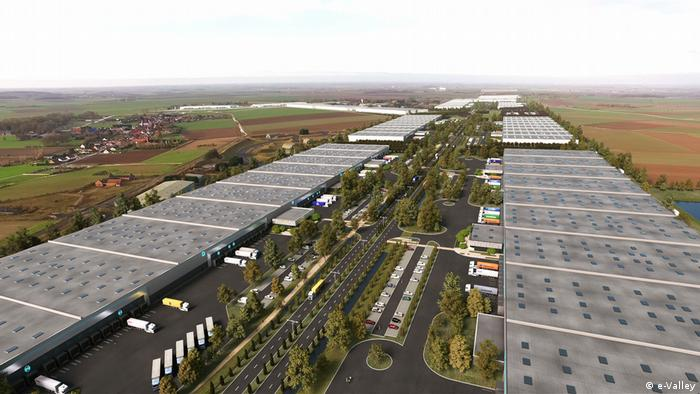 A computer-generated image of the e-Valley logistics platform being built in France