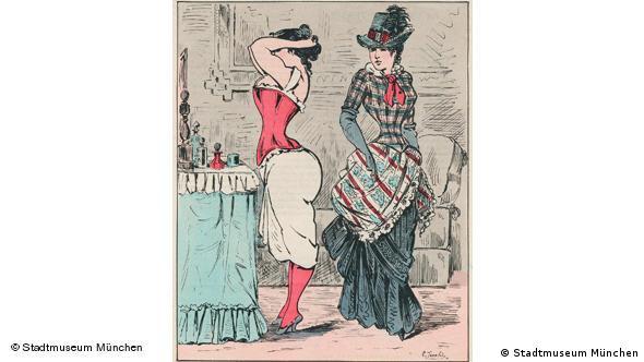 Карикатура на моду Sans Ventre, 1883 г.