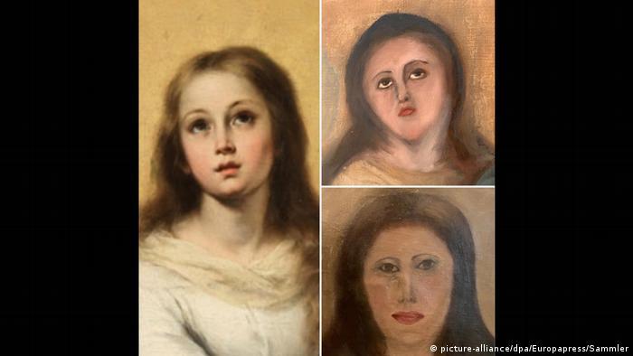 Imagen del original de La inmaculada del Escorial, y sus daños por restauración fallida.