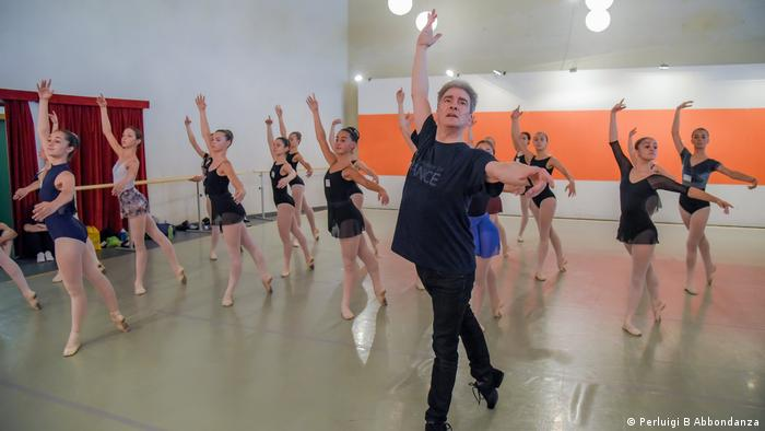 Gerard Charles, of the Royal Academy of Dance, leads a dance class