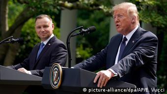 Donald Trump and Andrzej Duda address the press outside the White House