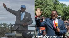 This combination of file pictures created on June 19, 2020, shows (from L), Malawian President Arthur Peter Mutharika arriving at the Biwi triangle in Lilongwe on June 17, 2020 and Malawi Congress Party (MCP) President Lazarus Chakwera addressing supporters during celebrations outside the MCP Headquarters in Lilongwe on February 4, 2020. - They are the leading Malawian presidential candidates in the upcoming national elections re-run. Malawi votes on June 23, 2020, in a historic presidential re-run after a court overturned President Peter Mutharika's re-election last year over ballot irregularities. (Photo by AMOS GUMULIRA / AFP) (Photo by AMOS GUMULIRA/AFP via Getty Images)