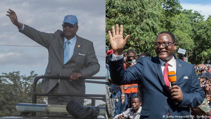 Rais Peter Mutharika (kushoto) na mgombea wa upinzani Lazarus Chakwera (kulia)