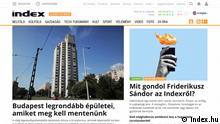Screenshot index.hu | Ungarisches Nachrichtenportal